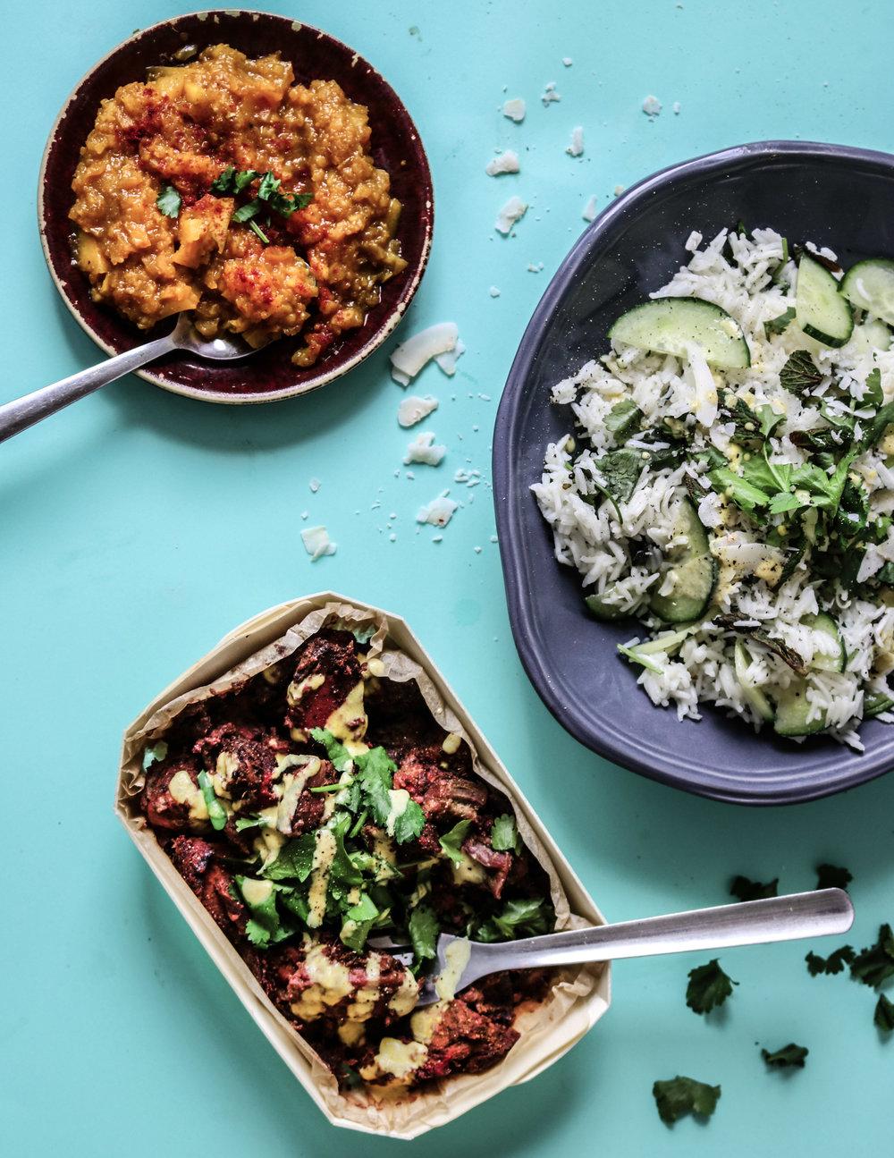 vegan tandoori, cucumber rice and mango chutney