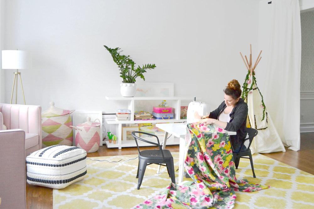 Sewing the playroom drapes.jpg