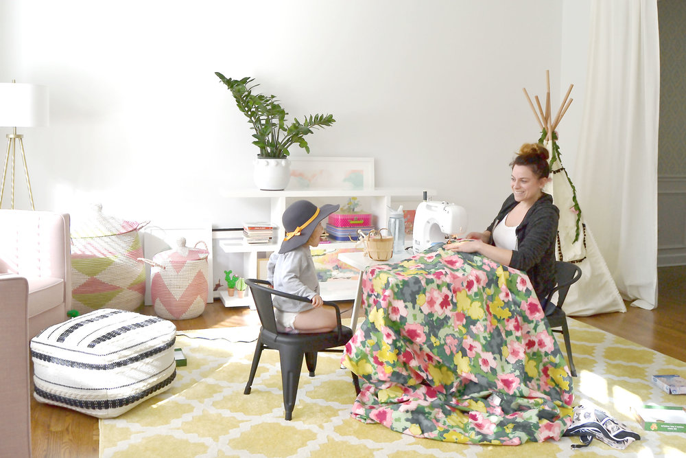 sewing the playroom drapes with a tiny best friend.jpg