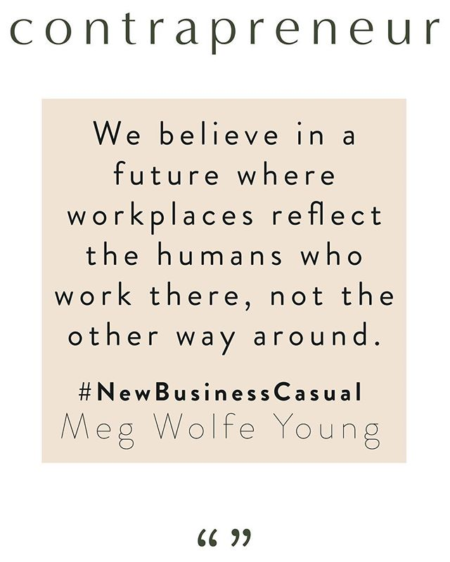 """#NewBusinessCasual ⚡️ Have you heard?⠀ ⠀ A few years ago, Meg Wolf Young started wearing graphic tees to work with statements she wanted to channel that day. Things like """"Killing It!"""" or """"Human Woman,"""" and """"Spiritual Gangster.""""⠀ ⠀ At the same time, she was getting questions from students at General Assembly about introducing radical ideas into traditional workplaces.⠀ ⠀ This started Meg thinking about how we show up at work. Out of this, #NewBusinessCasual was born. #NewBusinessCasual is about a future where we bring our personality into the work we do, where workplaces reflect the humans who work there, not the other way around.⠀ ⠀ Read the whole interview through the link in our bio! ☺️"""