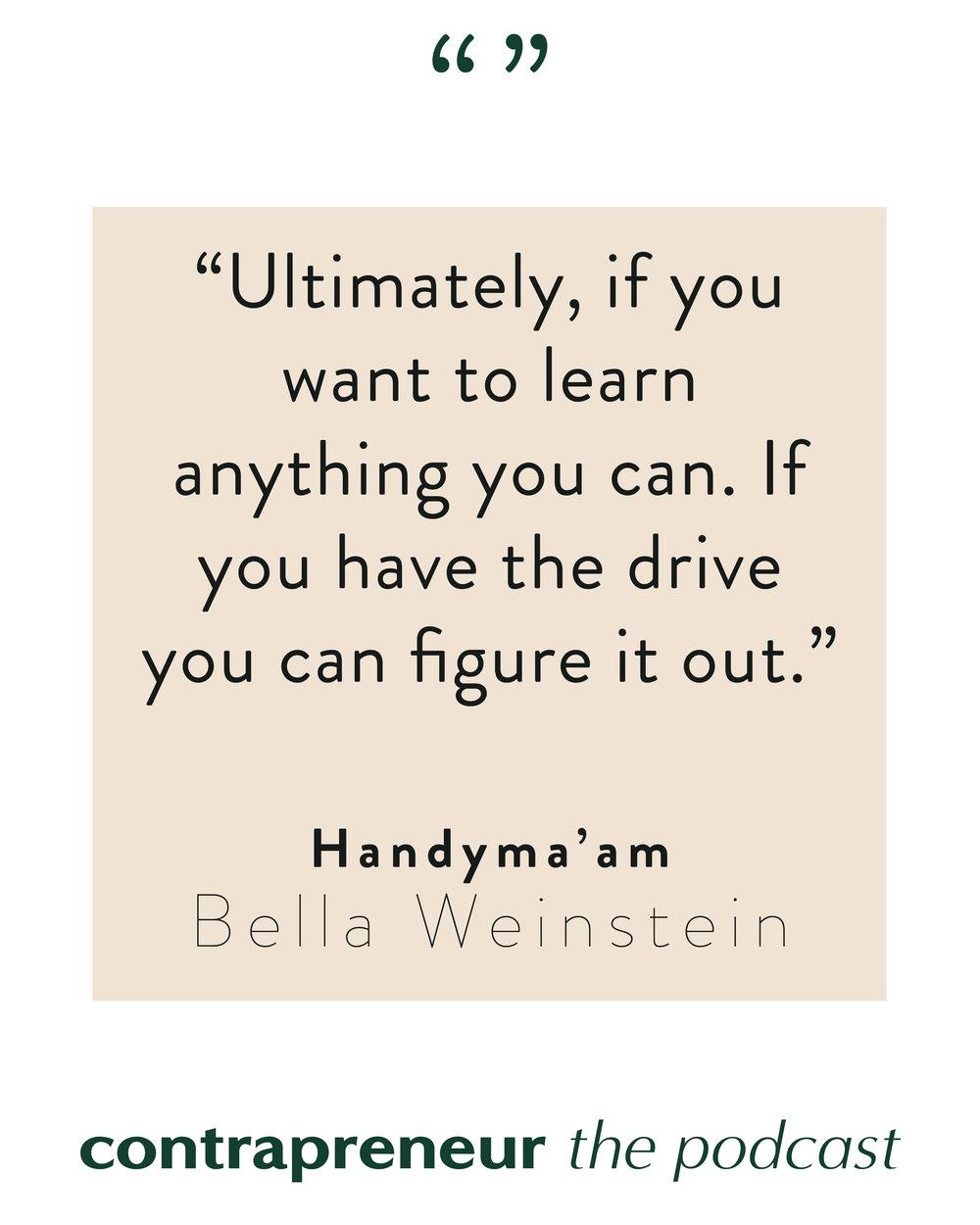 Contrapreneur Podcast — Creating Handyma'am, A Women's Workwear Company, with Founder Bella Weinstein