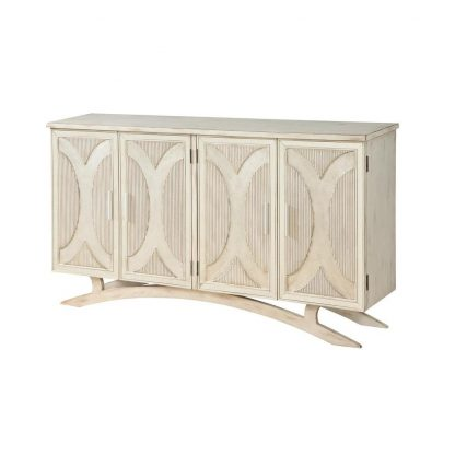 Millicent White and Silver Rub Four Door Media Credenza