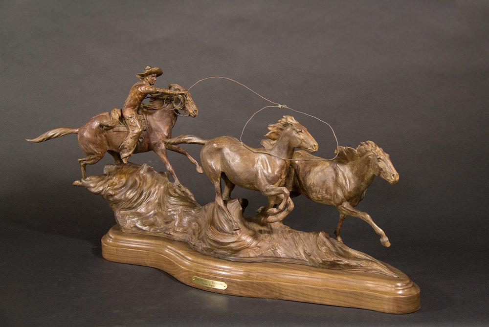 The Mustang Runner, Cowboys on horses, Cowboy Art