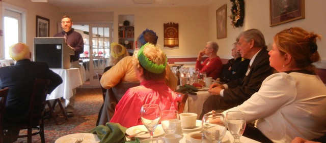 Members and guests listen to Thomas Leigh's talk on Celtic Languages