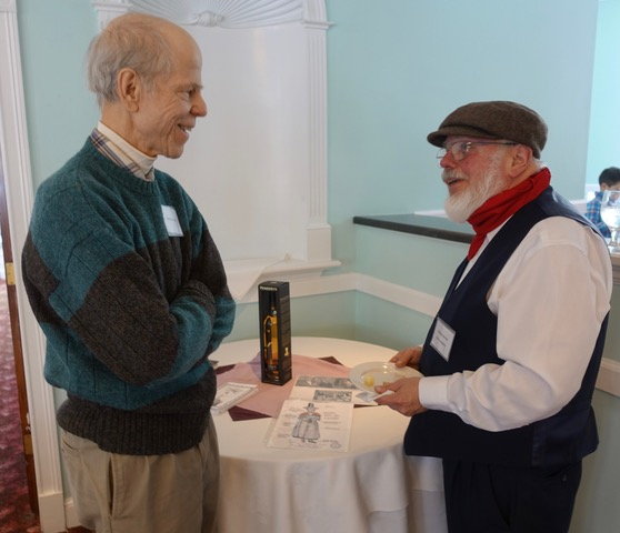 Mark Spencer chats with Ed Brown, who is in a traditional outfit worn by Slate quarrymen