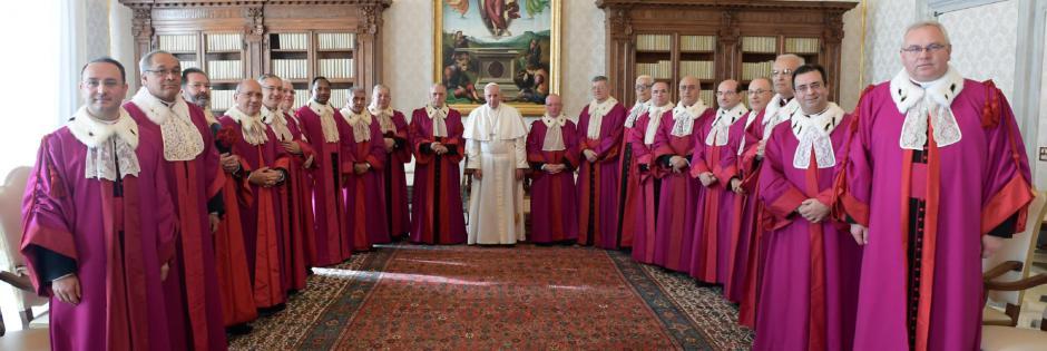 Papež s sodniki Rimske rote (foto: ilfoglio.it)