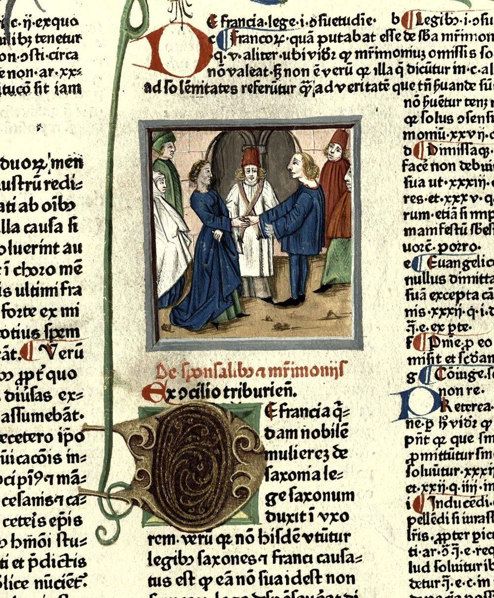 Podoba sklenitve zakonske zveze.  (foto: NŠAM, Zbirka raritet, R 155. Iz knjige: Papež Gregor IX., Knjiga dekretalij, Mainz: Peter Schöffer, 1473).