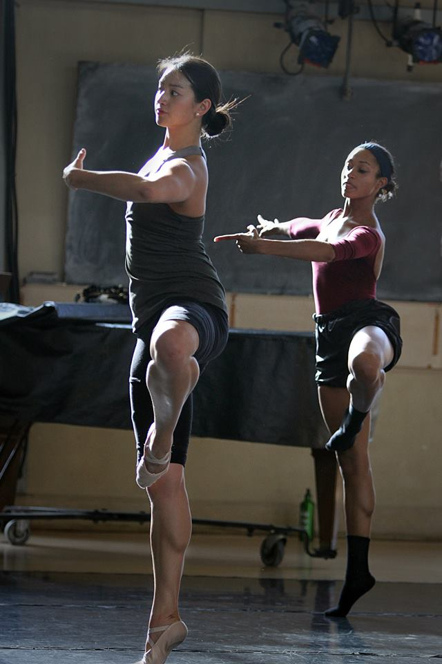 Dancing next to Madeleine Hawes in class with Muriel Maffre.  Photo: Stanford University