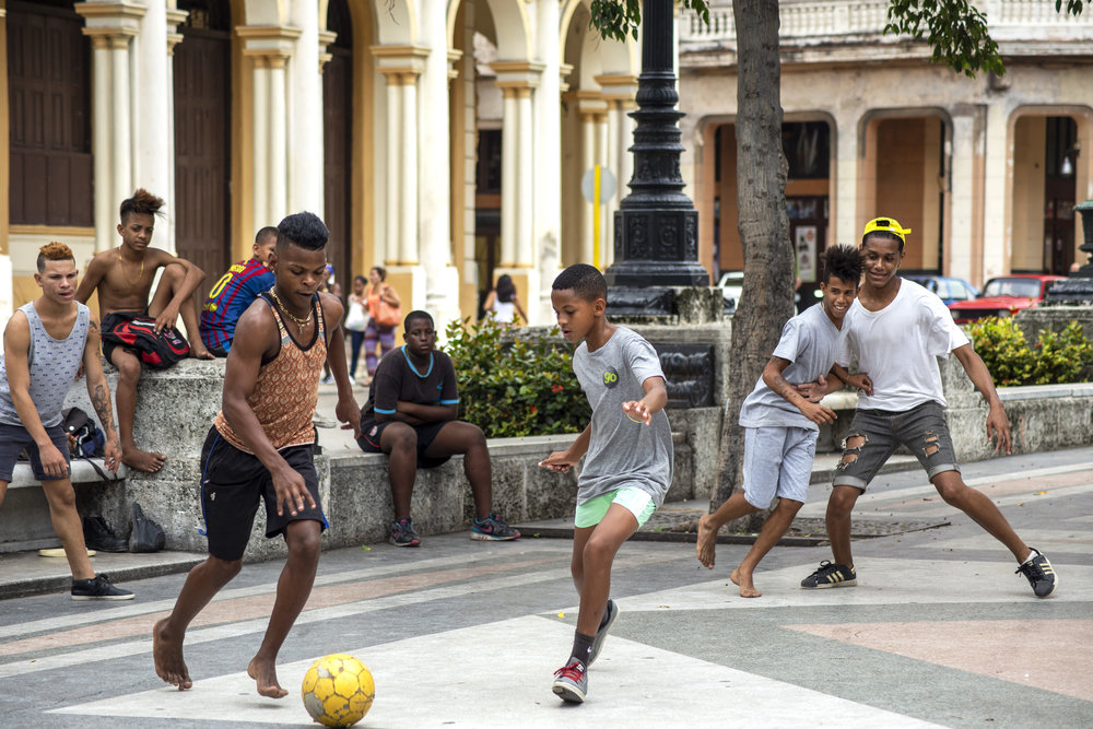 Kids Playing Soccer - Soccer is a popular game in Cuba but not quite as popular as baseball.