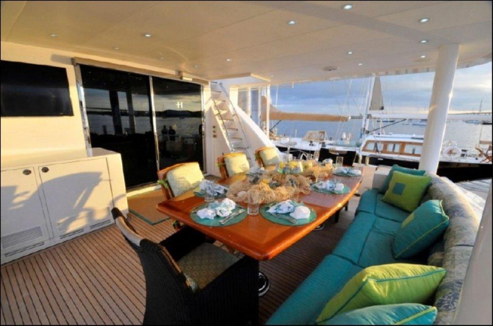 Luxury Charter Yacht Cynderella Aft Deck Al Fresco Dining