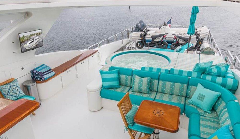 Luxury Charter Yacht Cynderella Lounge Deck Jacuzzi