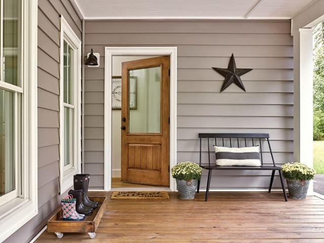 Exterior fiberglass door