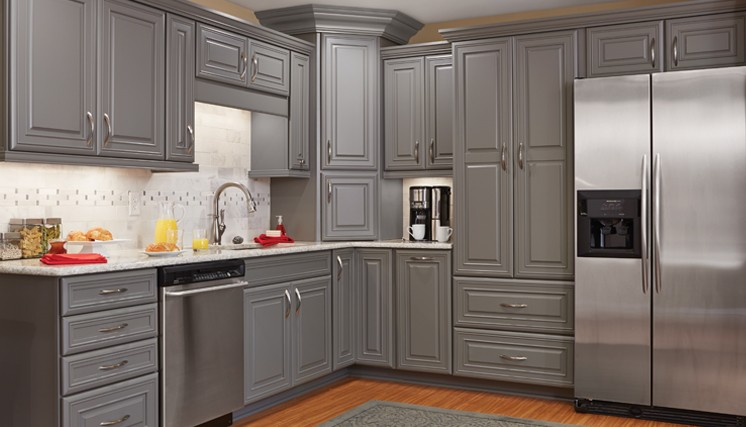 gray cabinets new kitchen in batavia ny