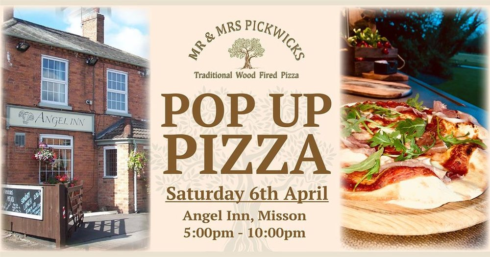 We're really excited to be doing our first Pop-Up Pizza Night at The Angel Inn, Misson If you've not been before, this is a beautiful country pub near the church in the small village of Misson, near Bawtry - we'll worth a ride out We'll be serving our freshly made wood fired pizzas from 5pm until late (or until we run out) If you've been to one of our pop ups before, you'll know the routine - order your pizza, grab a drink and we'll bring your pizzas when they're ready. We cater for gluten free and vegan (just let us know in advance) and we do Take-Away as well Hope to see you all there supporting this new venue 🍕🍻
