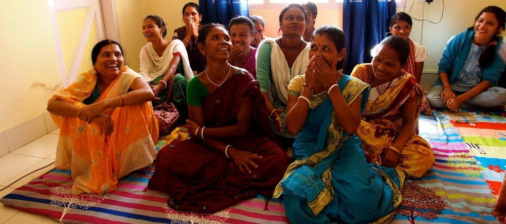 Sahayikas laugh during training