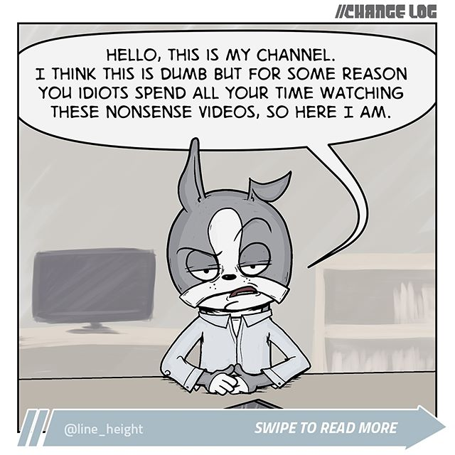 new Change Log comic... Miles starts a channel. . . . #changelog #comics #comicstrip #cartooning #digitalart #tech #developer #software #dogs #humor  #digitalcartoon  #technology #webdev #engineer #javascript #coding #app #design #software #code #reviews #youtube #idiots