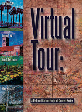 "VIRTUAL TOUR:A REDUCED CARBON FOOTPRINT CONCERT SERIES DVD - In April 2013 Mark Dresser, Nicole Mitchell, Myra Melford and Michael Dessen performed a ""virtual tour"" of new music conceived for musicians performing together live in different geographic locations via Internet2. The quartet, based in San Diego, California, collaborated with a different remote ensemble and composers for each of the three concerts: Jason Robinson, Marty Ehrlich and Bob Weiner in Amherst, Massachusetts; Matthias Ziegler and Gerry Hemingway in Zurich, Switzerland; and Sarah Weaver, Ray Anderson, Jane Ira Bloom, Min Xiao-Fen, and Matt Wilson in Stony Brook, New York. Available on the pfMENTUM Label."