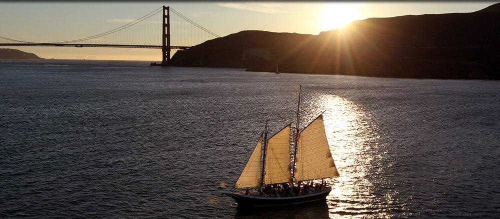 Schooner Freda B near the Golden Gate Bridge.