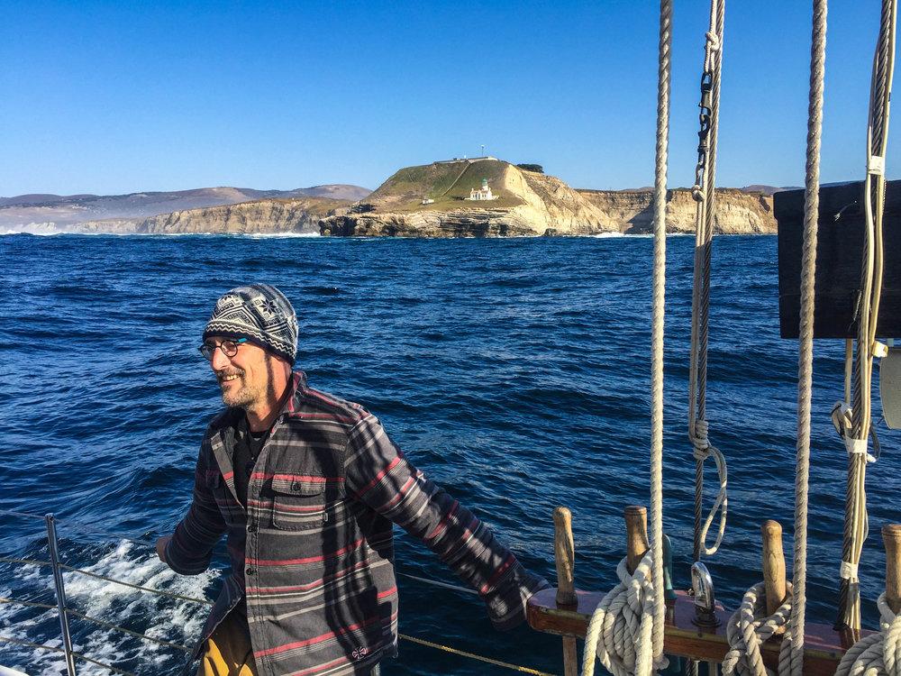 David Robert Johnson (aka Chef DR Jones) aboard the Freda B, Farallones Islands