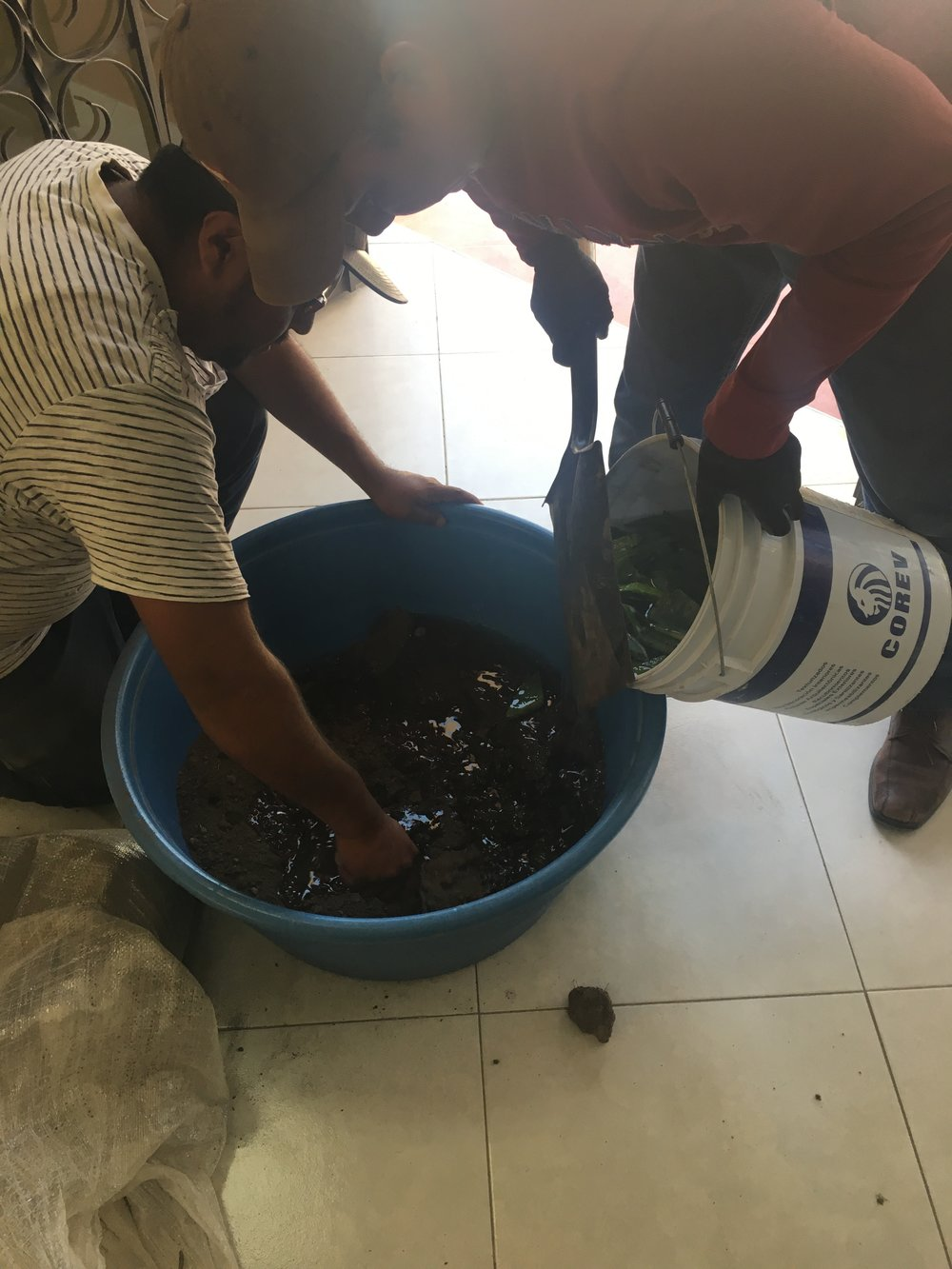 Joel and Isidro mix dirt with water and cactus sap. This mimics a technique that was used in the past and makes a durable (concrete-like) construction material.