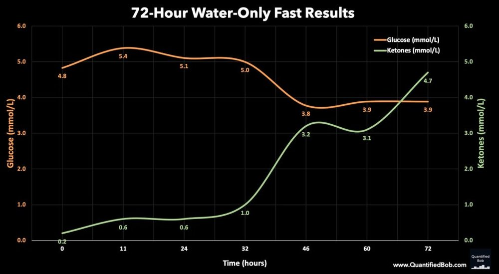 Figure 1 : Results of the Fast (https://www.quantifiedbob.com/water-fast-72-hours/)