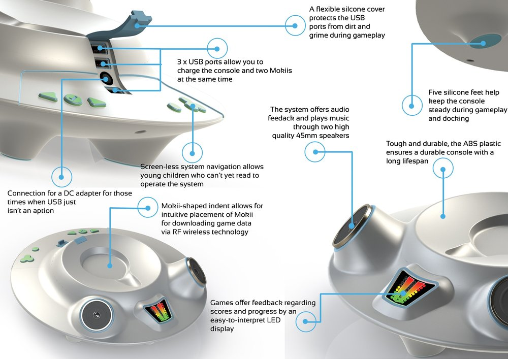 Mokii's spaceship acts as a charging station, as well as a source of audio feedback.  Several of the games have been designed to have Mokii returned to his spaceship at different stages, or at the conclusion, of several games.