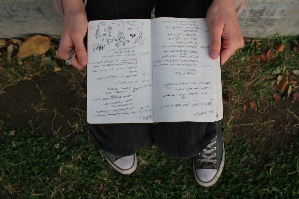 My notebook page of various 'to-do's' for each song, along with some drawings of feet