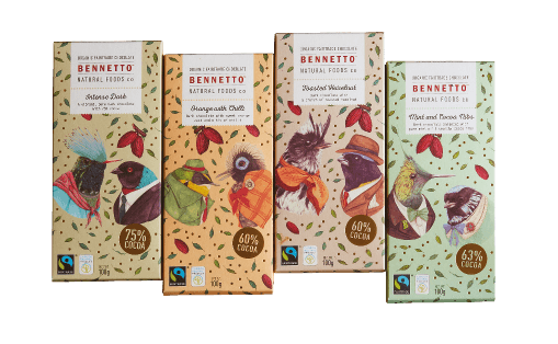Bennetto is a small company in the big world of chocolate – but they're pretty special.  They thoughtfully care for every part of what we do.  The secret to the quality of our chocolate has a lot to do with the ingredients. Bennetto uses only organic, and when able, Fairtrade certified.  They never use refined white sugar and when technically possible use coconut sugar. They don't use milk products so all Bennetto products are suitable for a vegan diet.    $29.95 for a Flavour pack (4s)