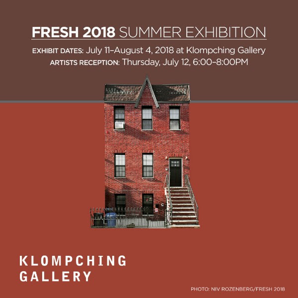 Klompching Gallery:FRESH Annual Summer Show - The FRESH Annual Summer Show, now in its seventh year, is produced and presented by the Klompching Gallery. Up to five photographers are selected and curated into a group exhibition. A further ten photographers are highlighted as finalists.Exhibiting Photographers: Adriene Hughes, Richard Kolker, James Lattanzio, Andy Mattern, Niv Rozenberg