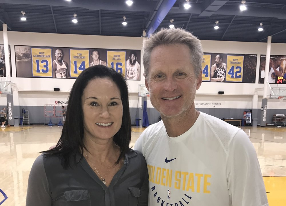 Jennifer Azzi and Coach Steve Kerr