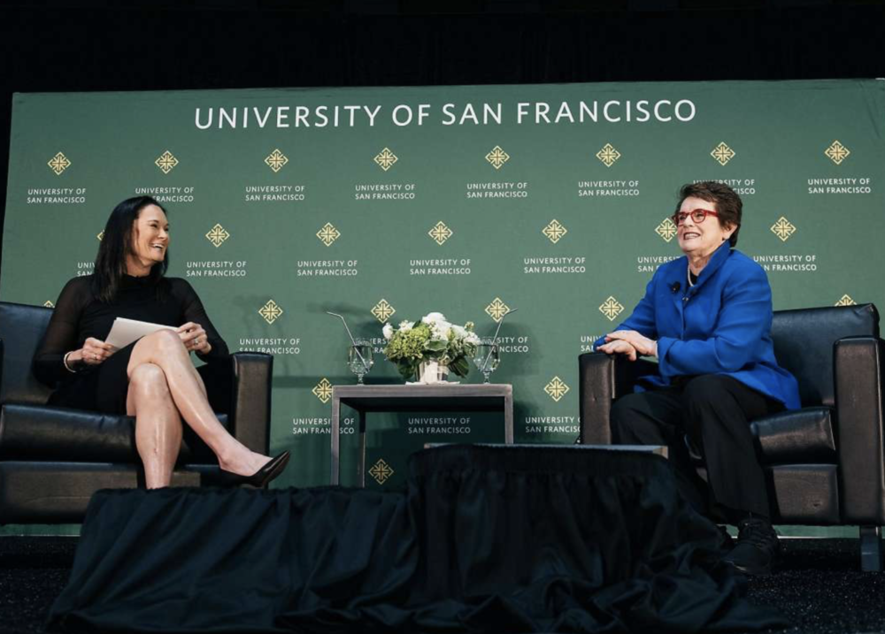 Jennifer Azzi Moderates Billie Jean King at USF -