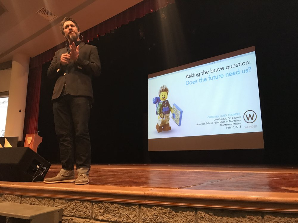 Christian Long delivers the opening keynote at Live curious, Go Beyond 2018 in Monterrey