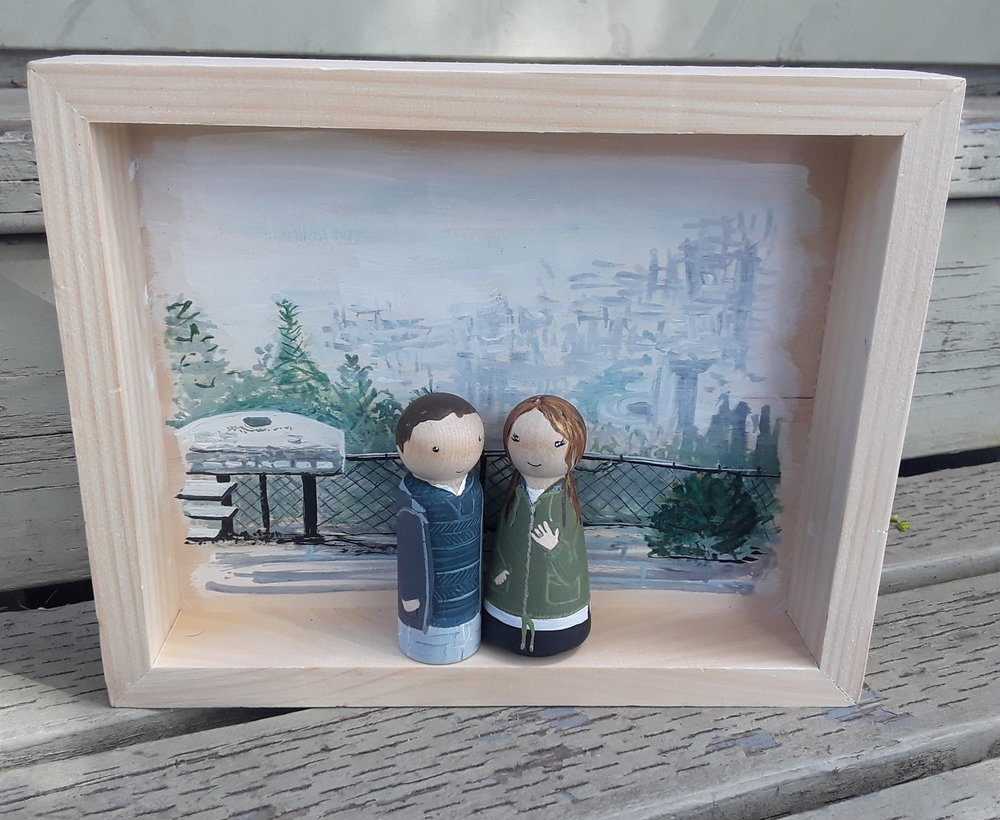 Wedding Proposal - This Shadow Box was painted with the view this couple had when he popped the question