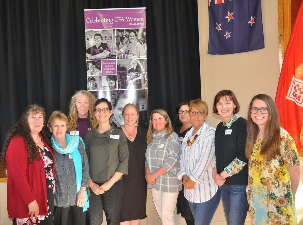 A women in leadership networking event including women from Taradale Brigade, Malmsbury Brigade, State MP Mary-Ann Thomas, and Centre for Non-Violence CEO Margaret Augerinos 2018