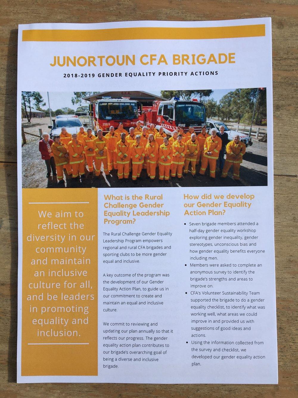Junortoun CFA Brigade's Gender Equality Action Plan Goal
