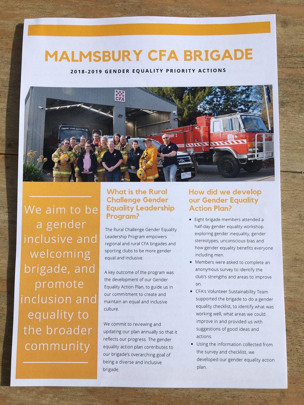 Malmsbury CFA Brigade's Gender Equality Action Plan Goal