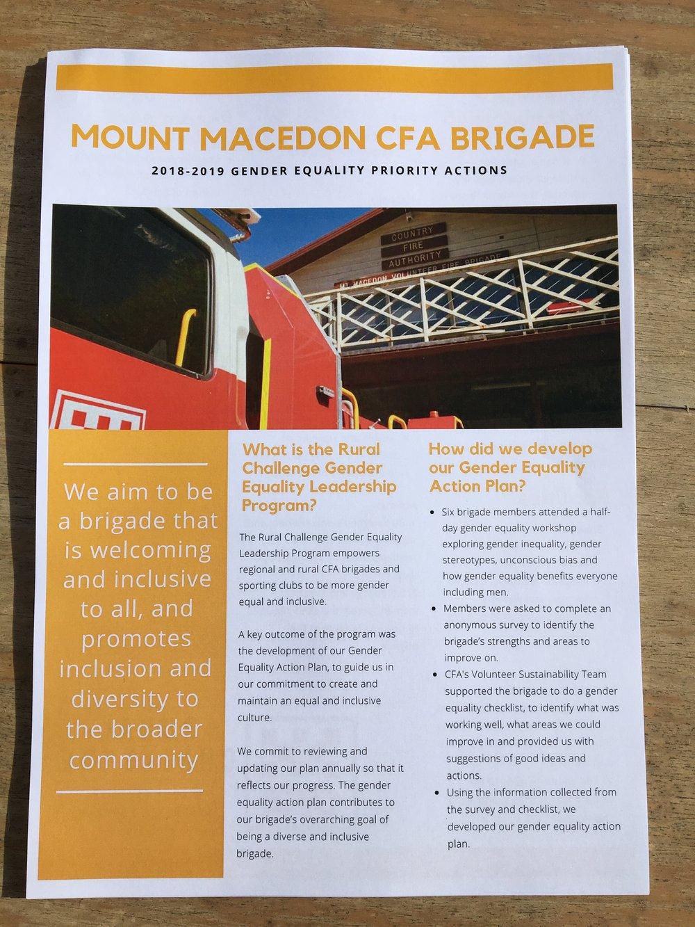 Mount Macedon CFA Brigade's 2018-2019 Gender Equality Action Plan Goal