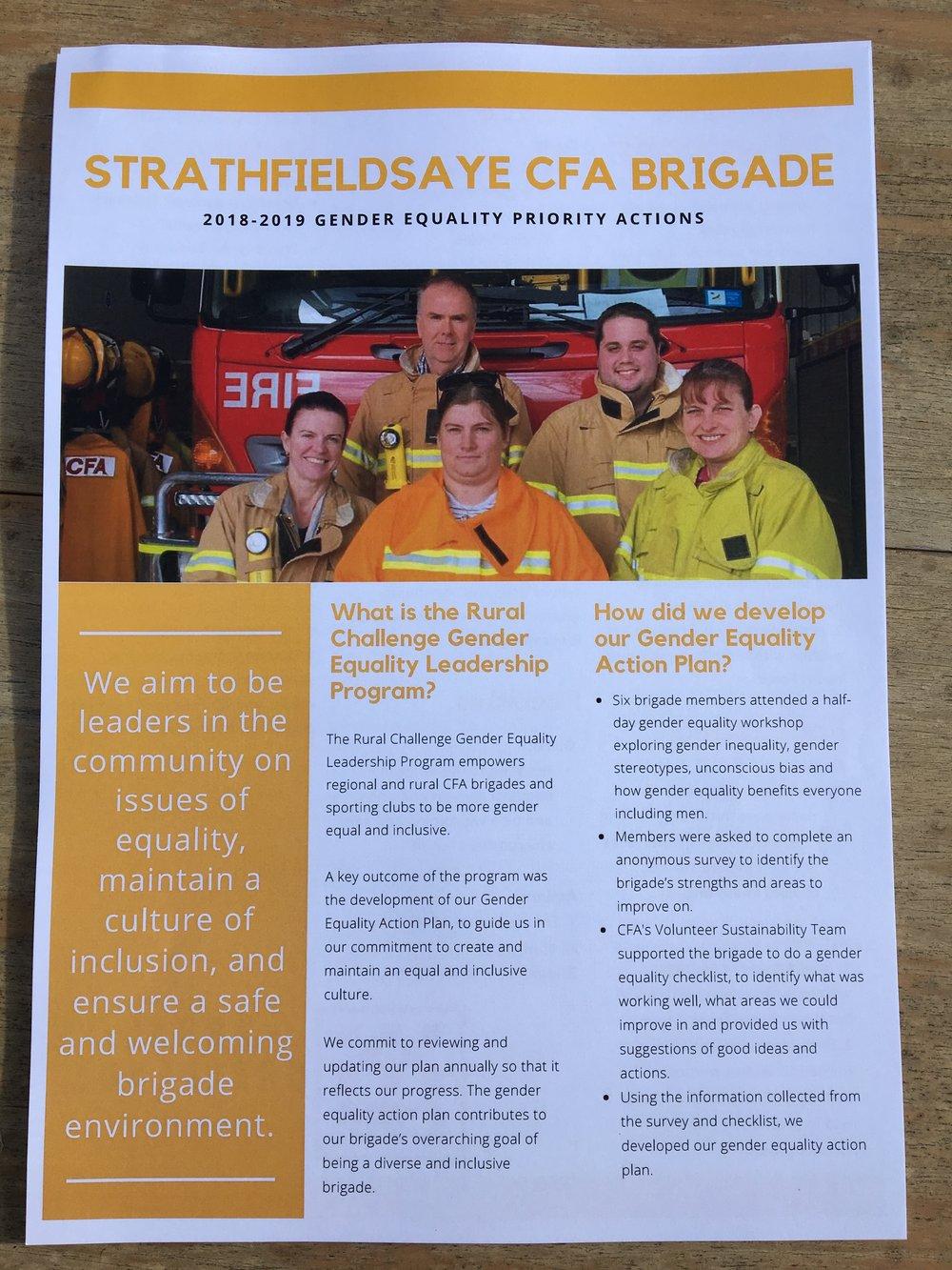 Strathfieldsaye CFA Brigade's Gender Equality Action Plan Goal