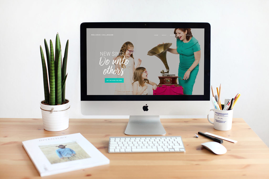 Mockup of Melonie Collmann's website by Camille Farey Design