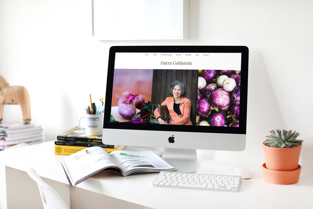 Mockup of Darra Goldstein's website by Camille Farey Design