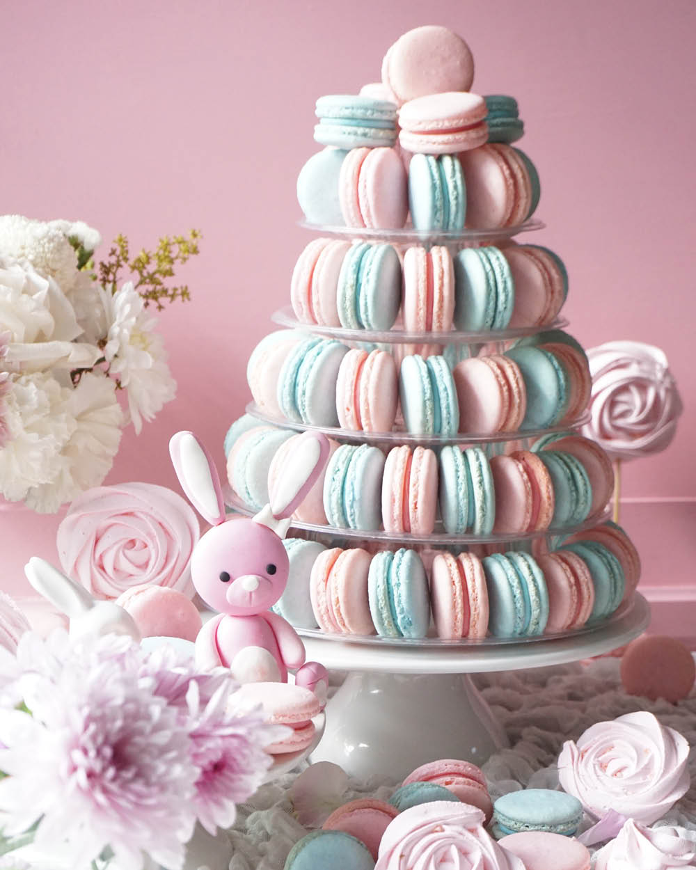 Gender Reveal Macarons Tower
