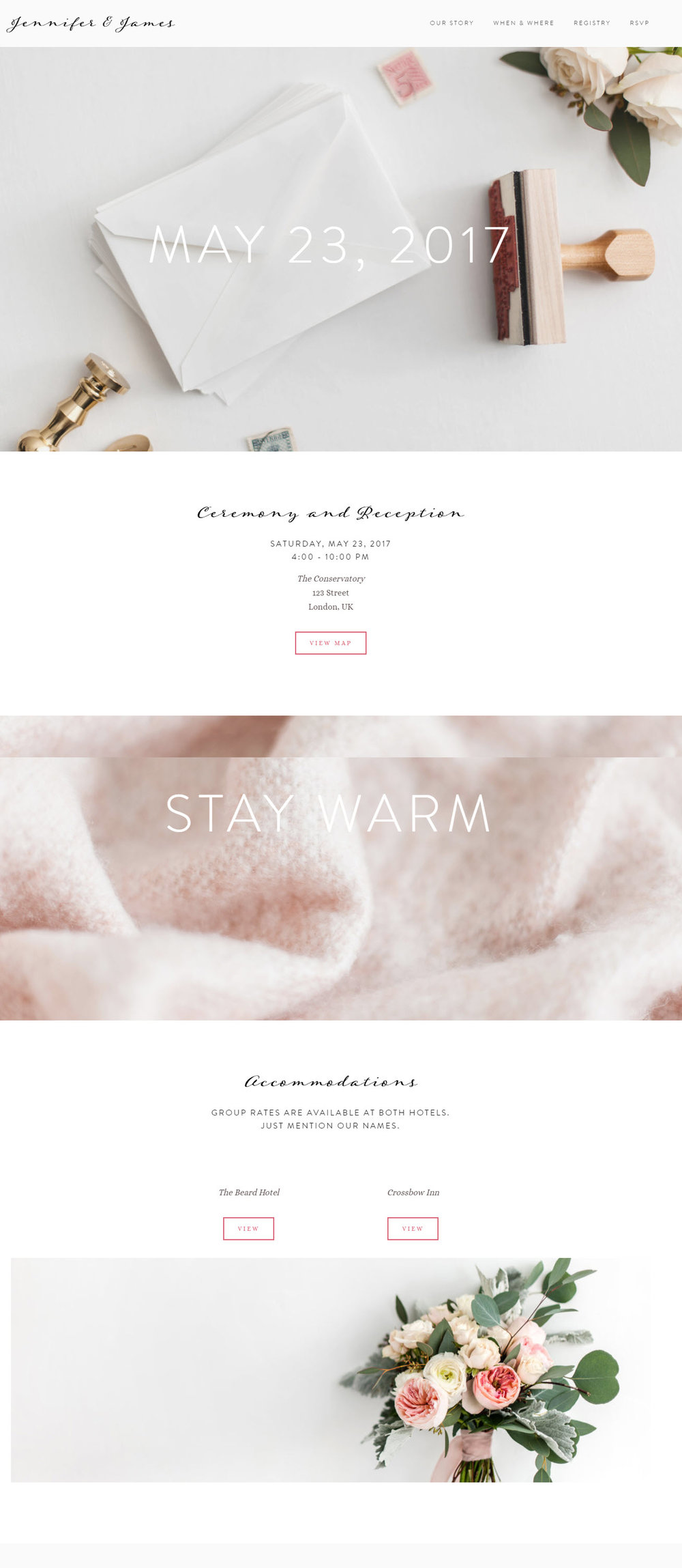 Pretty Custom Wedding Website