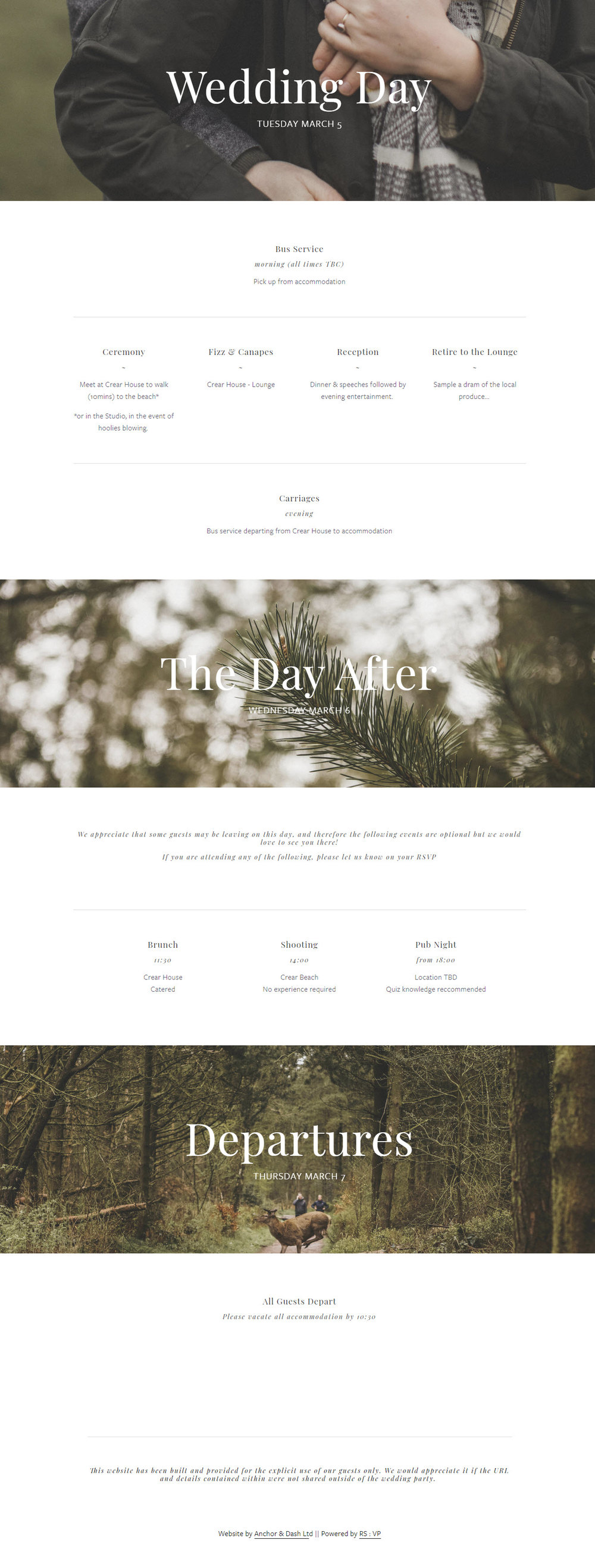 Custom Destination Wedding Website