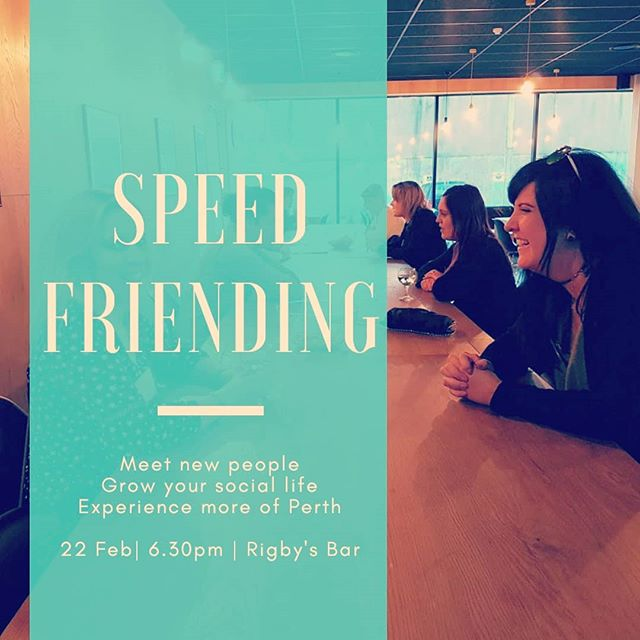 SPEED FRIENDING Perth (female only event) Friday, 22 February 2019. 6.30 pm Rigby's Bar Buy tickets at thecityandme.com.au/events, also link in bio. . . Newest way to meet people in Perth and grow your social life! . .  This specific event is female only, however, we have mixed speed friending events too. . . You get 3-4 mins with each person and then you move to a new person. Event runs for about 1.5 hours with time to socialise after. . Keep an eye out for our new monthly photowalk city tours coming soon. . . Tag a friend who loves trying new things! . . . . . . . . . #perthfriends #Perthhappenings #perthlocal #meetnewpeople #speedfriending #speedfriendingperth #findyourtribe #friendship #friends #cityofperth #seeperth #experienceperth #perthsocial #meetfriends #makefriends #meetfriendsperth #meetpeopleperth #makefriendsperth #perthtodo #peopleofperth #meetup #newfriends #connectingpeopleinthecity #thingstodo #loveyourcity #connectingpeople #networking #perthlife #loveperth #perthvibes