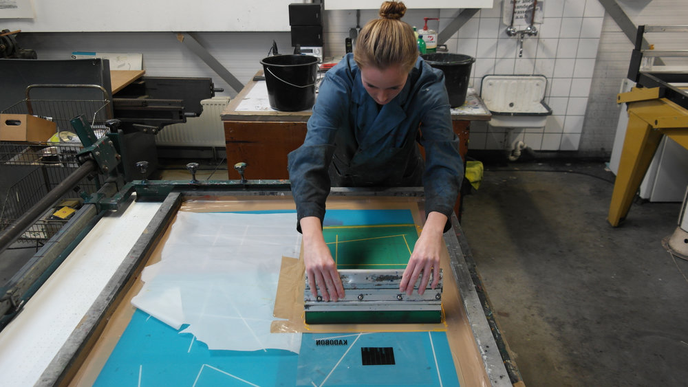 Screen printing the pattern