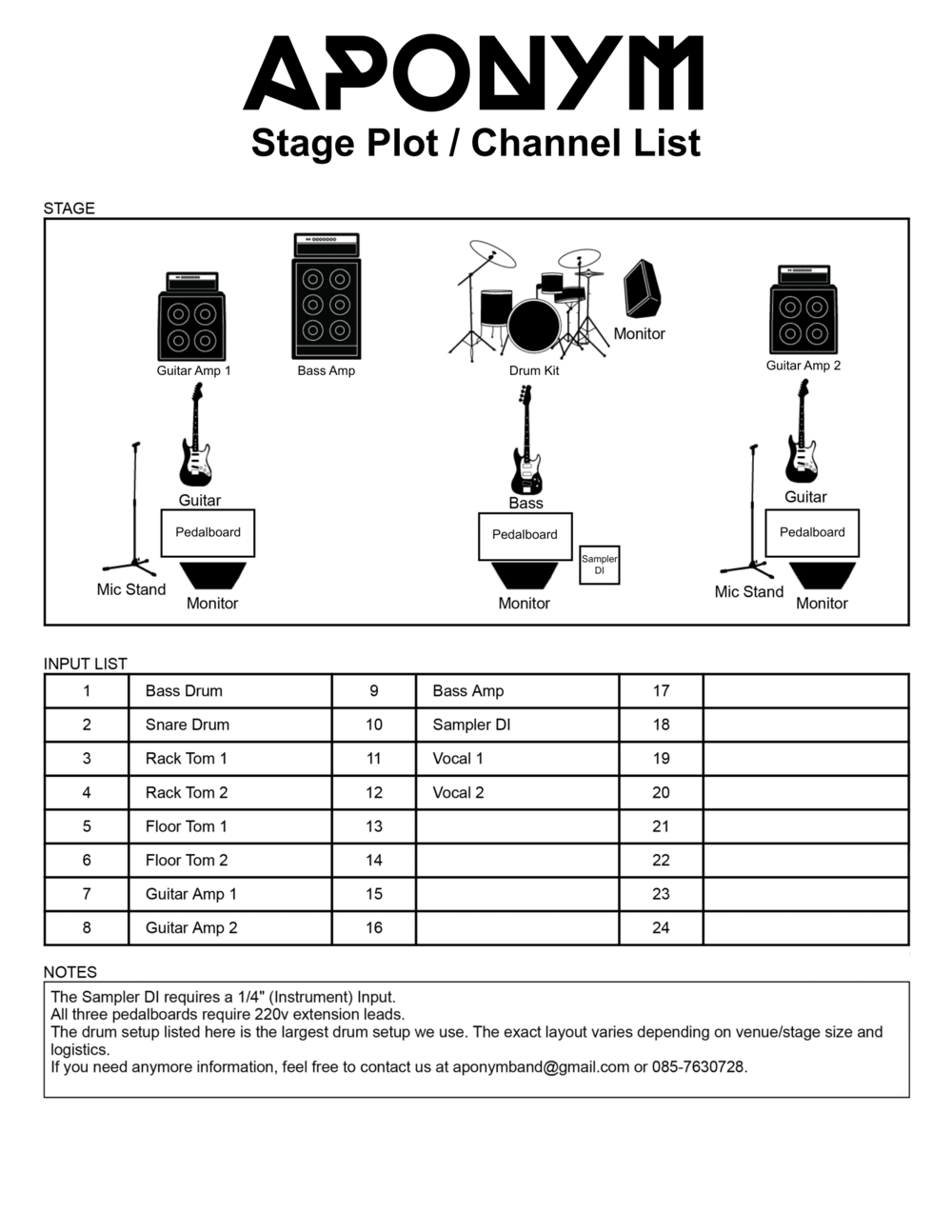 Click image above for PDF download of stage plot