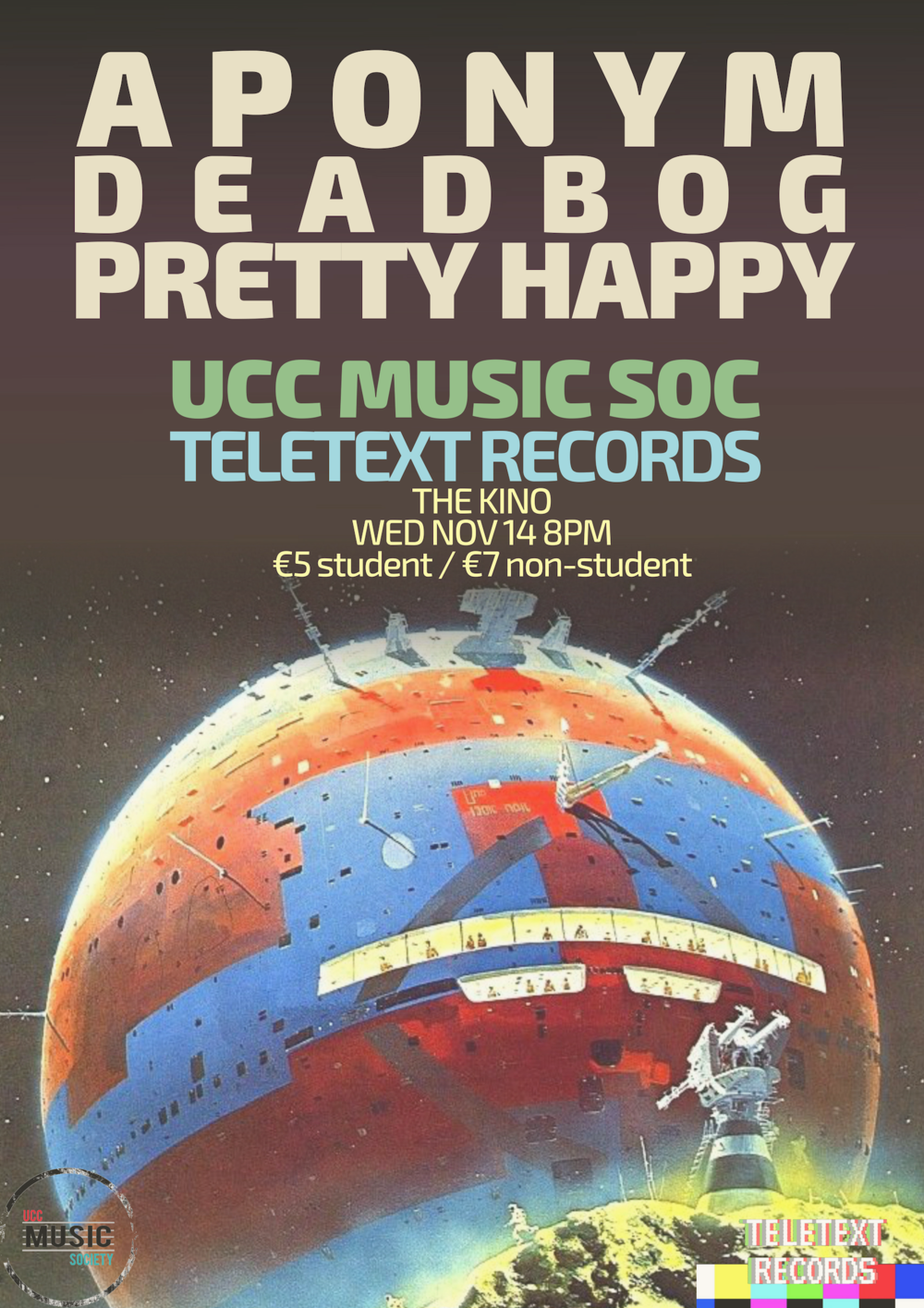 Presented by  UCC Music Society  & Teletext Records