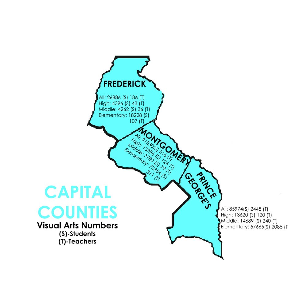 Visual Arts - Capital Counties   Frederick: 26886 Students, 186 Teachers  Montgomery: 91530 Students, 516 Teachers  Prince George's: 85974 Students, 2445 Teachers