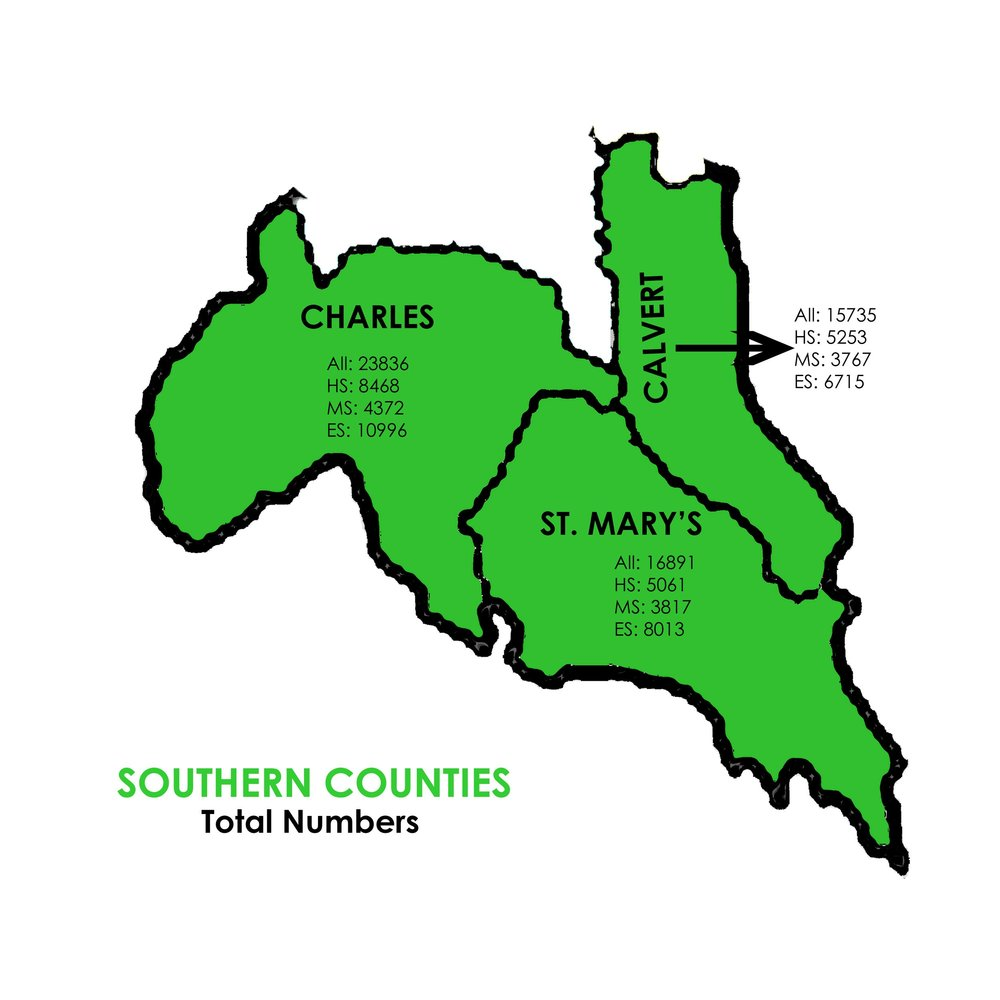 Total Number of Students Enrolled in Arts Classes - Southern Counties   Charles: 23836 Students  St. Mary's: 16891 Students  Calvert: 15735 Students
