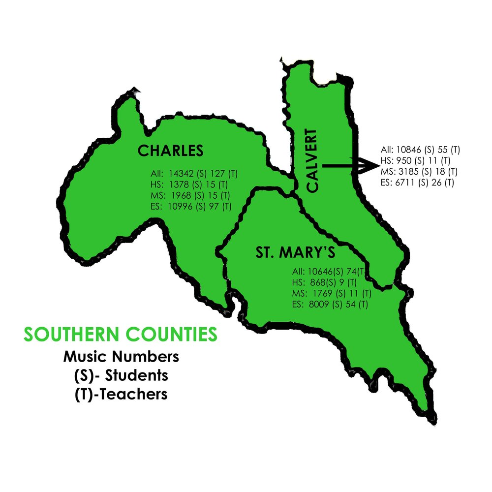 Music - Southern Counties   Charles: 14342 Students, 127 Teachers  St. Mary's: 10646 Students, 74 Teachers  Calvert: 10846 Students, 55 Teachers
